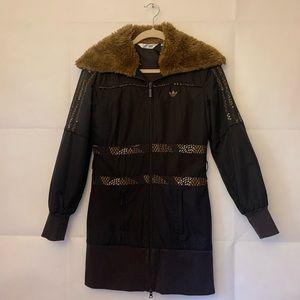 Women's Small: Faux Fur Collar Mid Length Coat